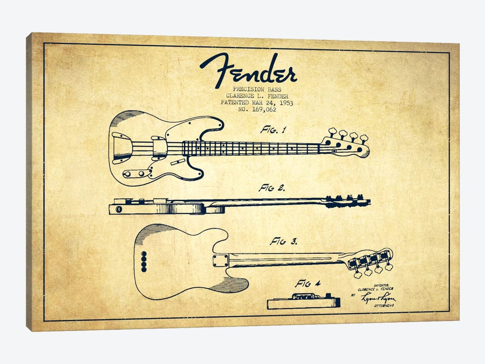 Fender Guitar Vintage Patent Blueprint by Aged Pixel 1-piece Canvas Print
