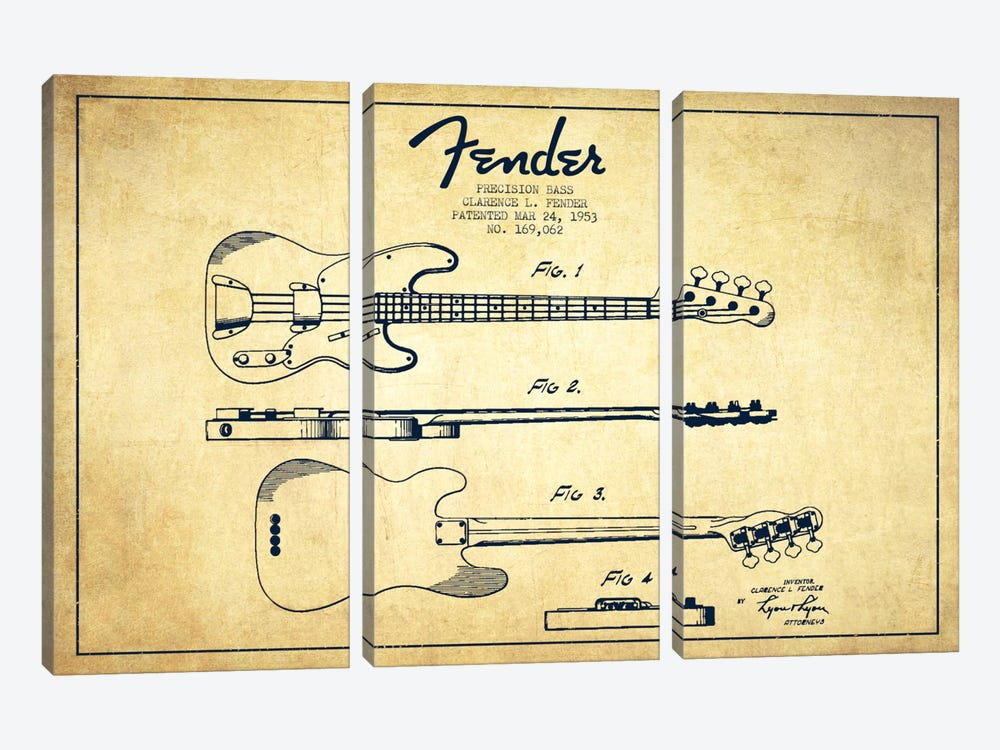 Fender Guitar Vintage Patent Blueprint by Aged Pixel 3-piece Canvas Print