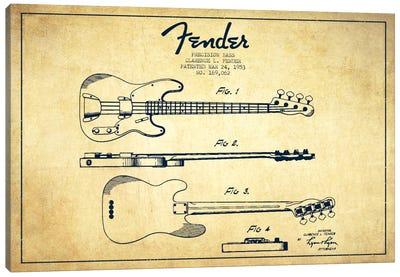 Fender Guitar Vintage Patent Blueprint Canvas Art Print
