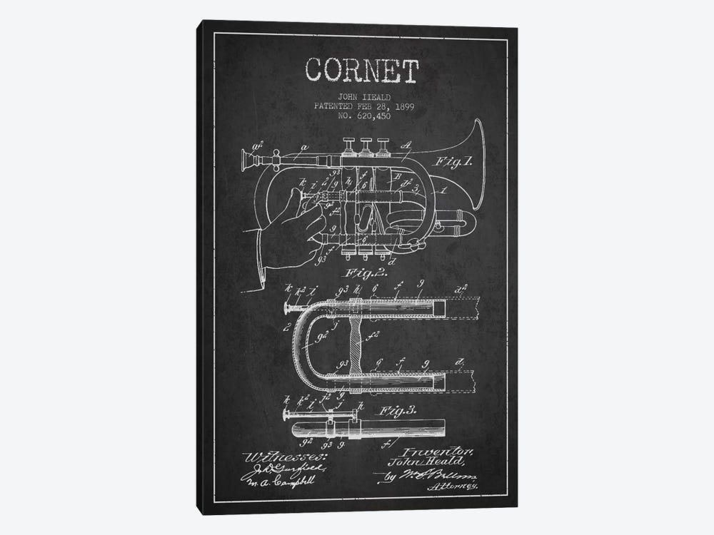 Cornet Charcoal Patent Blueprint by Aged Pixel 1-piece Canvas Wall Art