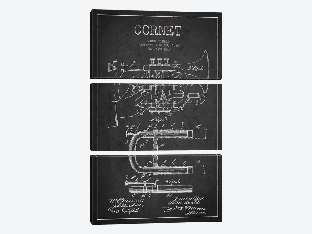 Cornet Charcoal Patent Blueprint by Aged Pixel 3-piece Canvas Art