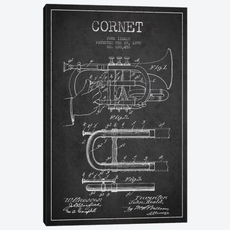 Cornet Charcoal Patent Blueprint Canvas Print #ADP1004} by Aged Pixel Canvas Print