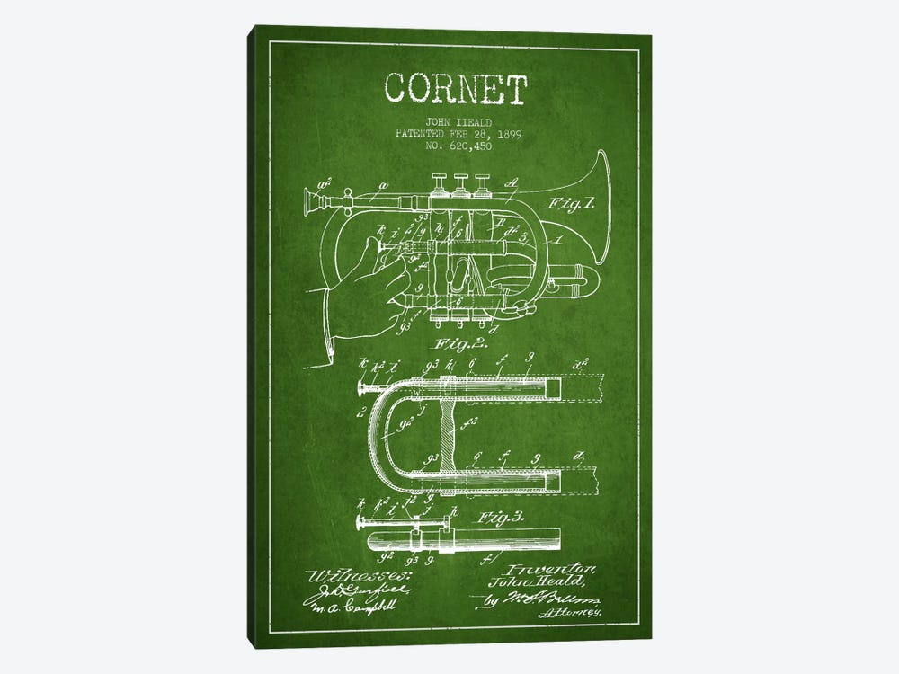 Cornet Green Patent Blueprint by Aged Pixel 1-piece Canvas Art Print