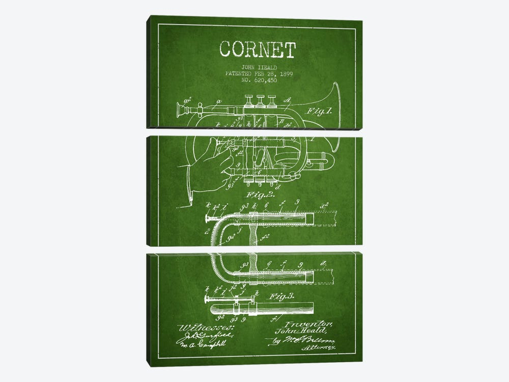 Cornet Green Patent Blueprint by Aged Pixel 3-piece Art Print