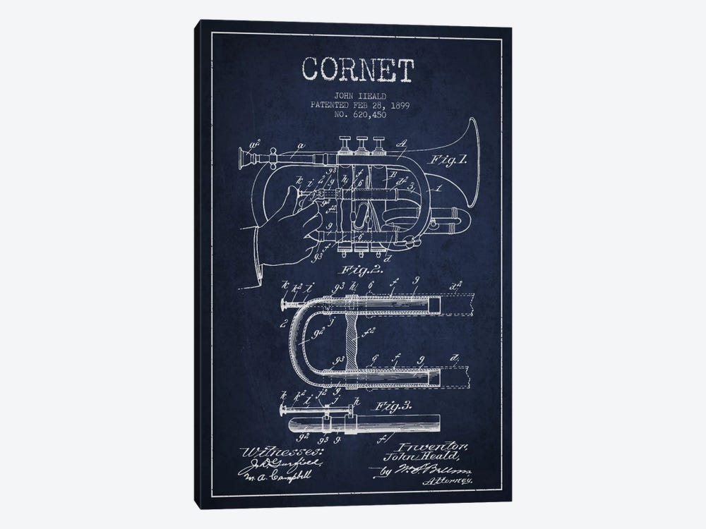 Cornet Navy Blue Patent Blueprint by Aged Pixel 1-piece Canvas Artwork