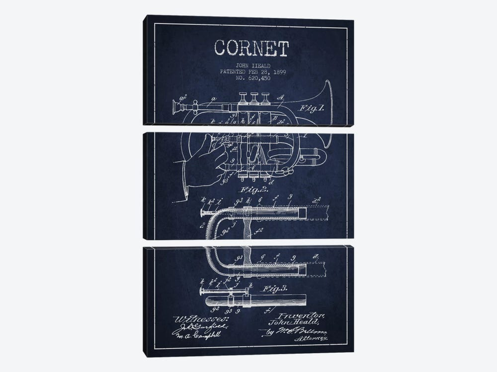 Cornet Navy Blue Patent Blueprint by Aged Pixel 3-piece Canvas Artwork