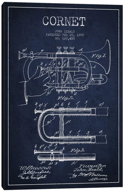 Cornet Navy Blue Patent Blueprint Canvas Art Print