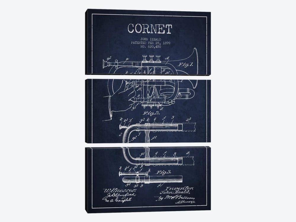 Cornet Navy Blue Patent Blueprint by Aged Pixel 3-piece Canvas Artwork