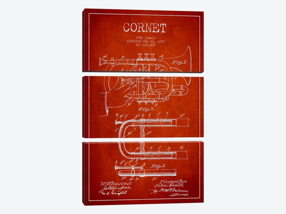 Cornet Red Patent Blueprint 3-piece Art Print