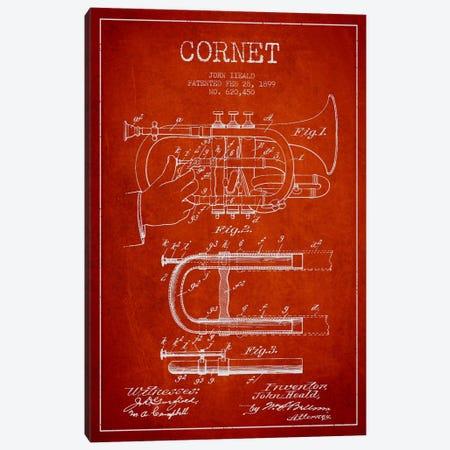 Cornet Red Patent Blueprint Canvas Print #ADP1007} by Aged Pixel Canvas Print