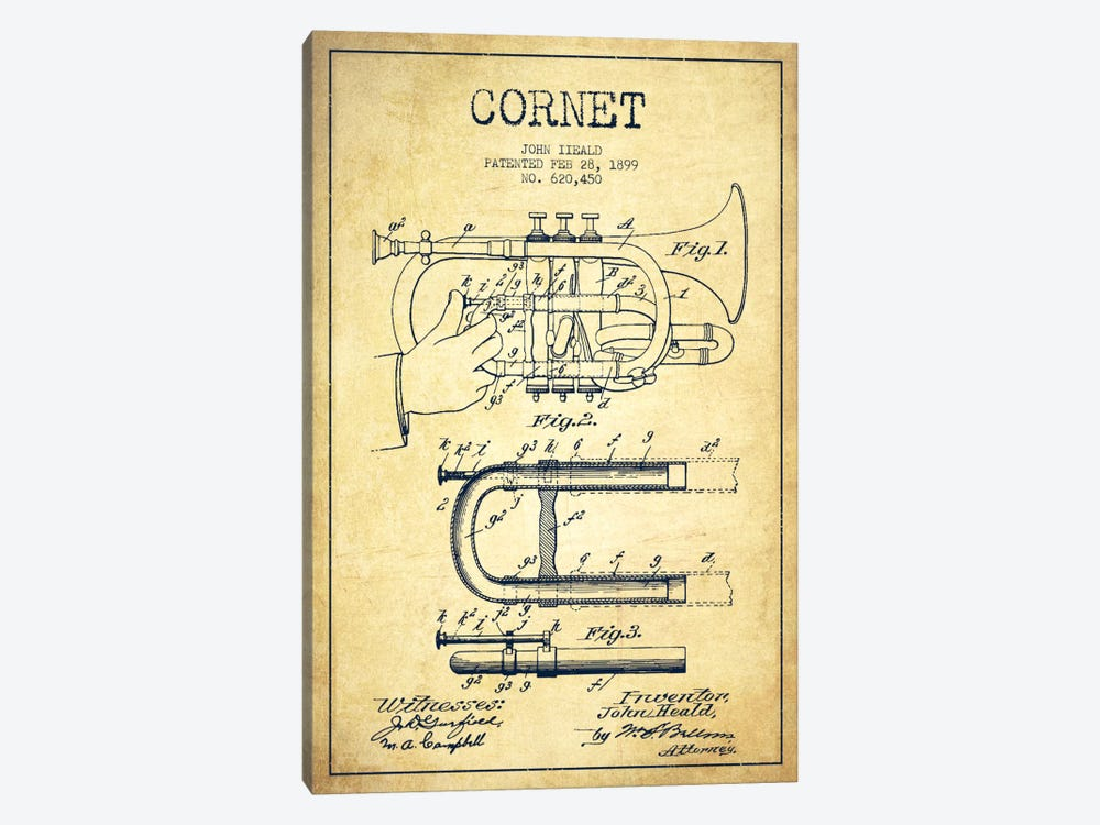 Cornet Vintage Patent Blueprint by Aged Pixel 1-piece Canvas Wall Art