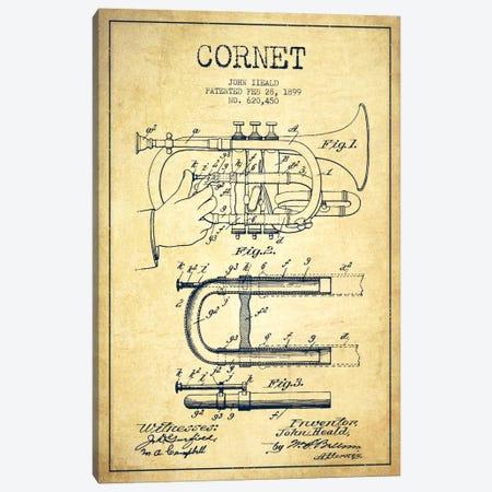Cornet Vintage Patent Blueprint Canvas Print #ADP1008} by Aged Pixel Canvas Art
