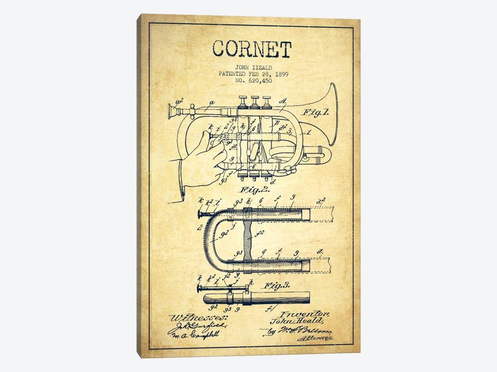 Cornet Vintage Patent Blueprint by Aged Pixel 1-piece Canvas Wall Art