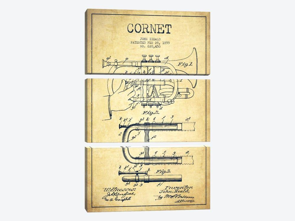 Cornet Vintage Patent Blueprint by Aged Pixel 3-piece Canvas Wall Art
