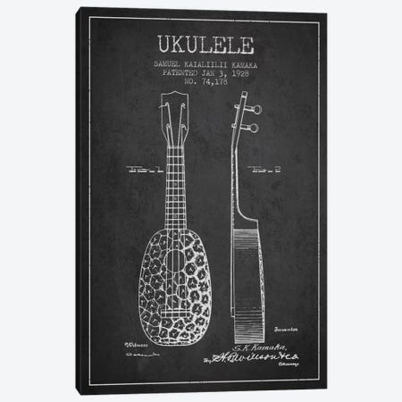 Ukulele Charcoal Patent Blueprint Canvas Print #ADP1009} by Aged Pixel Canvas Wall Art