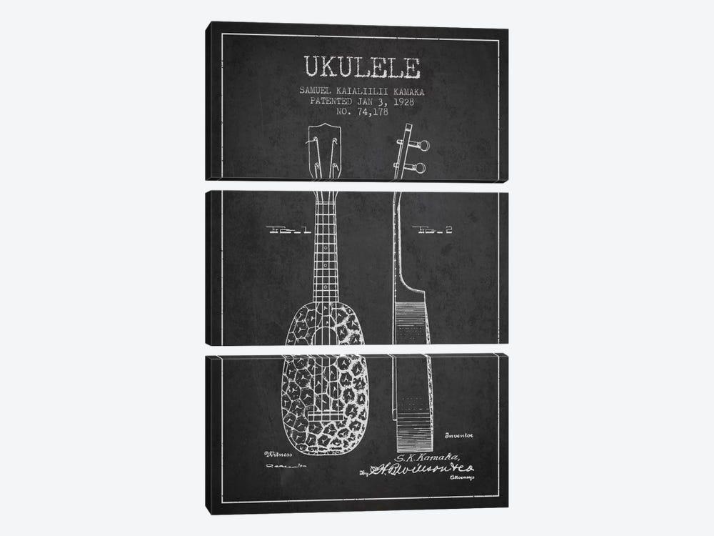 Ukulele Charcoal Patent Blueprint by Aged Pixel 3-piece Art Print