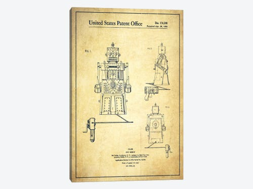 Toy robot vintage patent blueprint canvas print by aged pixel icanvas toy robot vintage patent blueprint 1 piece canvas art malvernweather Gallery