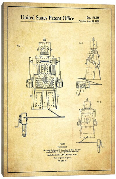 Toy Robot Vintage Patent Blueprint Canvas Art Print