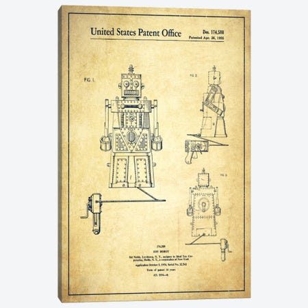 Toy Robot Vintage Patent Blueprint Canvas Print #ADP100} by Aged Pixel Canvas Wall Art