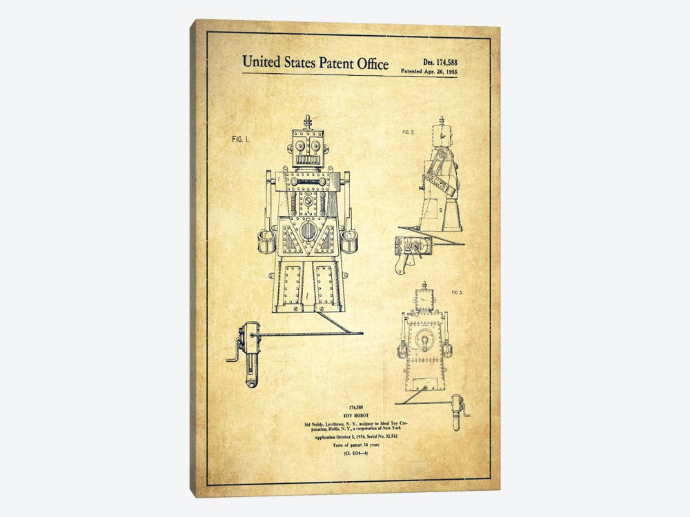 Toy Robot Vintage Patent Blueprint by Aged Pixel 1-piece Canvas Art