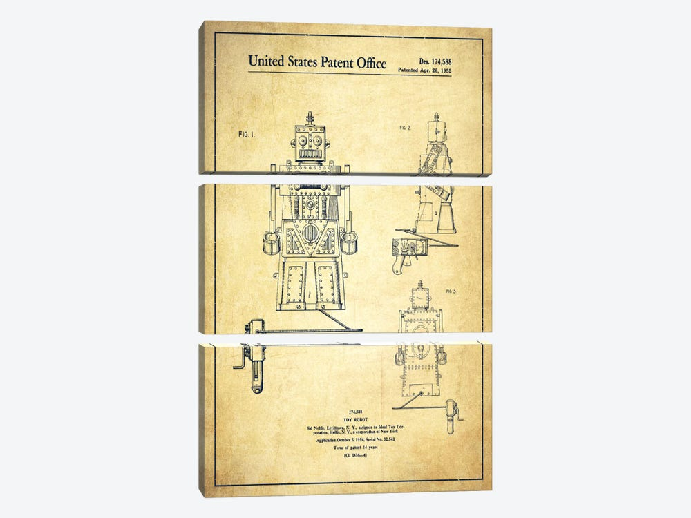 Toy Robot Vintage Patent Blueprint by Aged Pixel 3-piece Canvas Wall Art