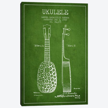 Ukulele Green Patent Blueprint Canvas Print #ADP1010} by Aged Pixel Canvas Art Print
