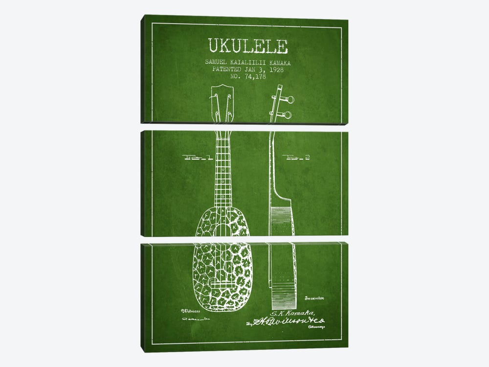 Ukulele Green Patent Blueprint by Aged Pixel 3-piece Canvas Print