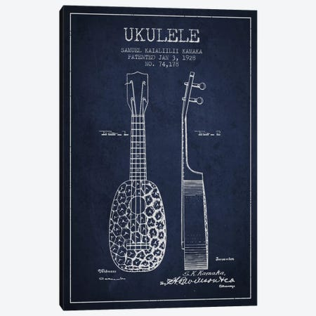 Ukulele Navy Blue Patent Blueprint Canvas Print #ADP1011} by Aged Pixel Canvas Print