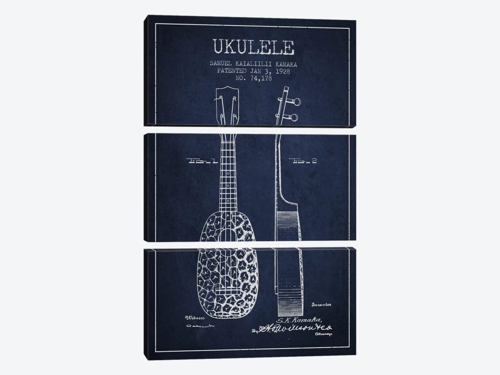 Ukulele Navy Blue Patent Blueprint by Aged Pixel 3-piece Canvas Wall Art