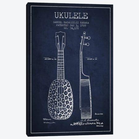 Ukulele Navy Blue Patent Blueprint Canvas Print #ADP1011} by Aged Pixel Canvas Print