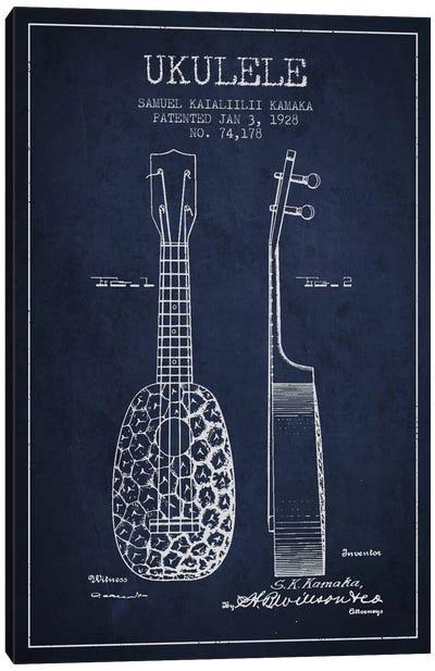 Ukulele Navy Blue Patent Blueprint Canvas Art Print