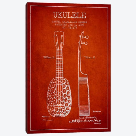 Ukulele Red Patent Blueprint Canvas Print #ADP1012} by Aged Pixel Art Print