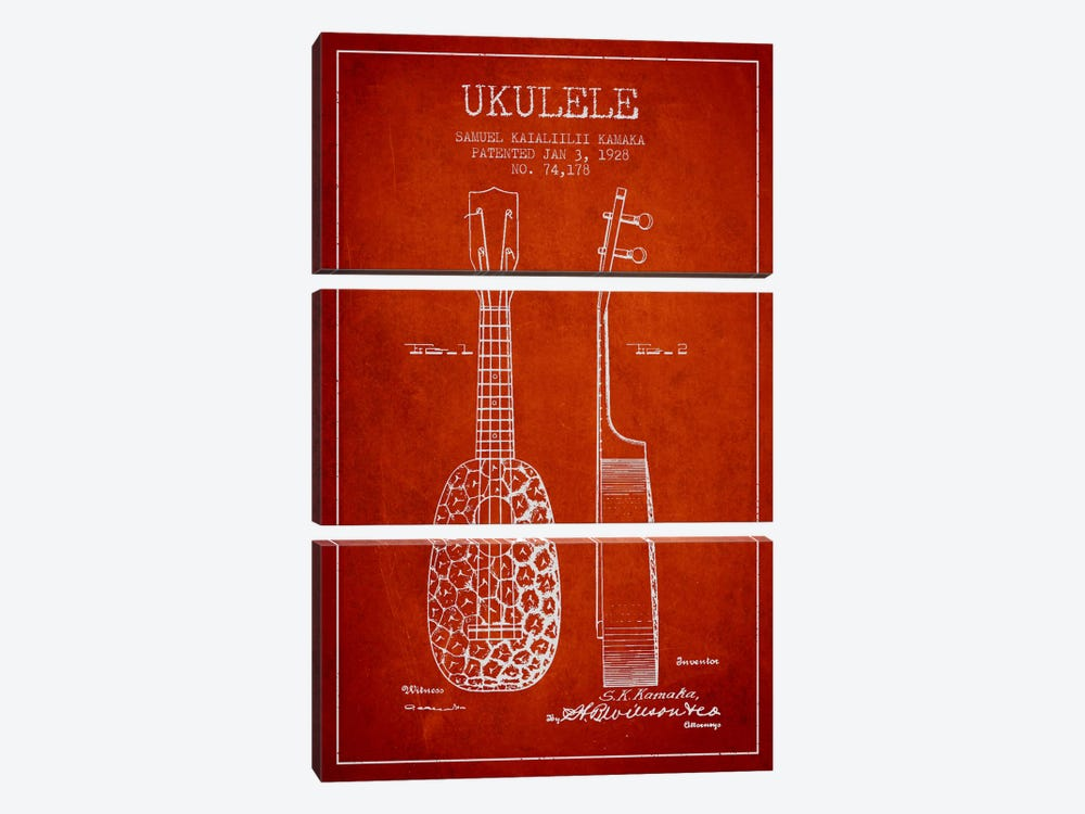 Ukulele Red Patent Blueprint by Aged Pixel 3-piece Art Print