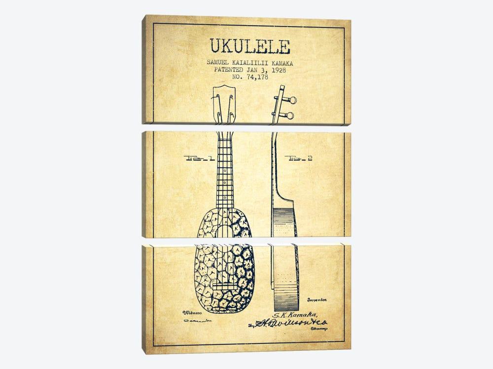 Ukulele Vintage Patent Blueprint by Aged Pixel 3-piece Canvas Wall Art