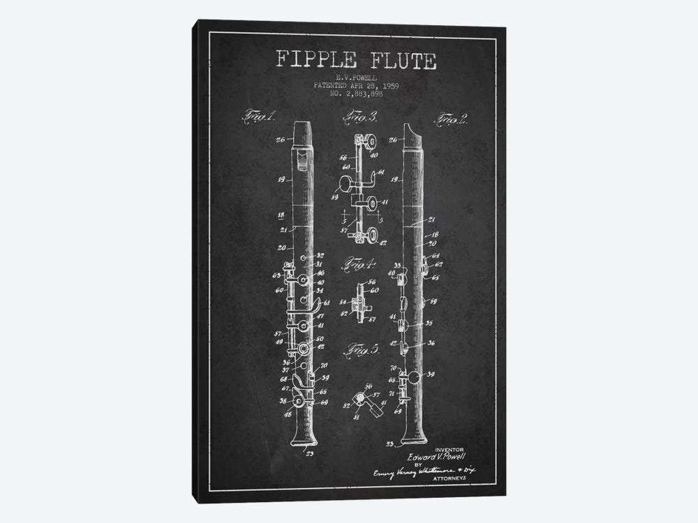 Fipple Flute Charcoal Patent Blueprint by Aged Pixel 1-piece Canvas Print