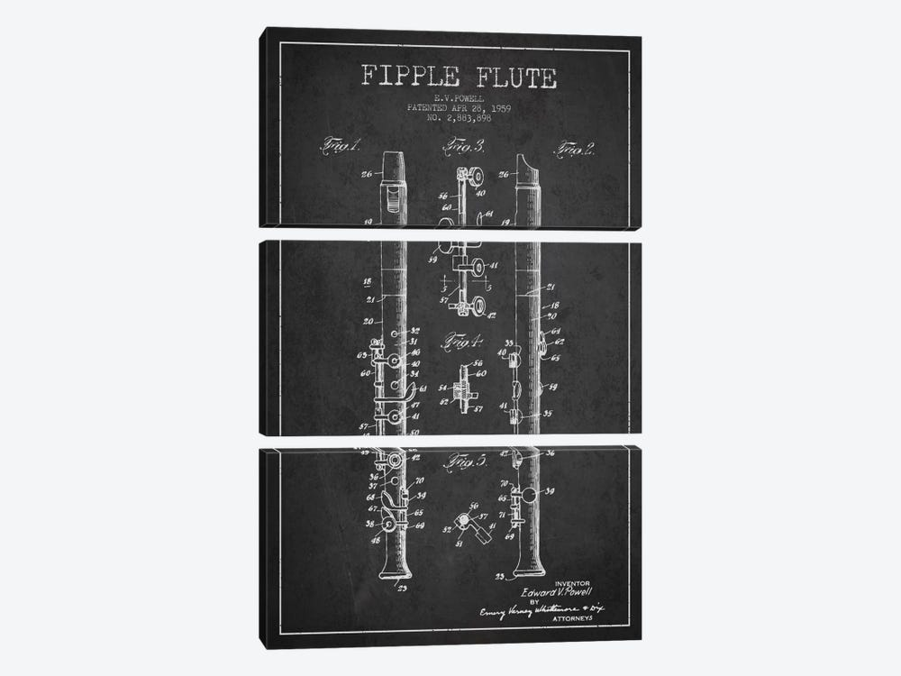 Fipple Flute Charcoal Patent Blueprint 3-piece Canvas Print
