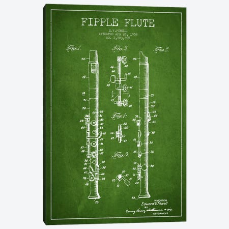 Fipple Flute Green Patent Blueprint Canvas Print #ADP1015} by Aged Pixel Canvas Wall Art