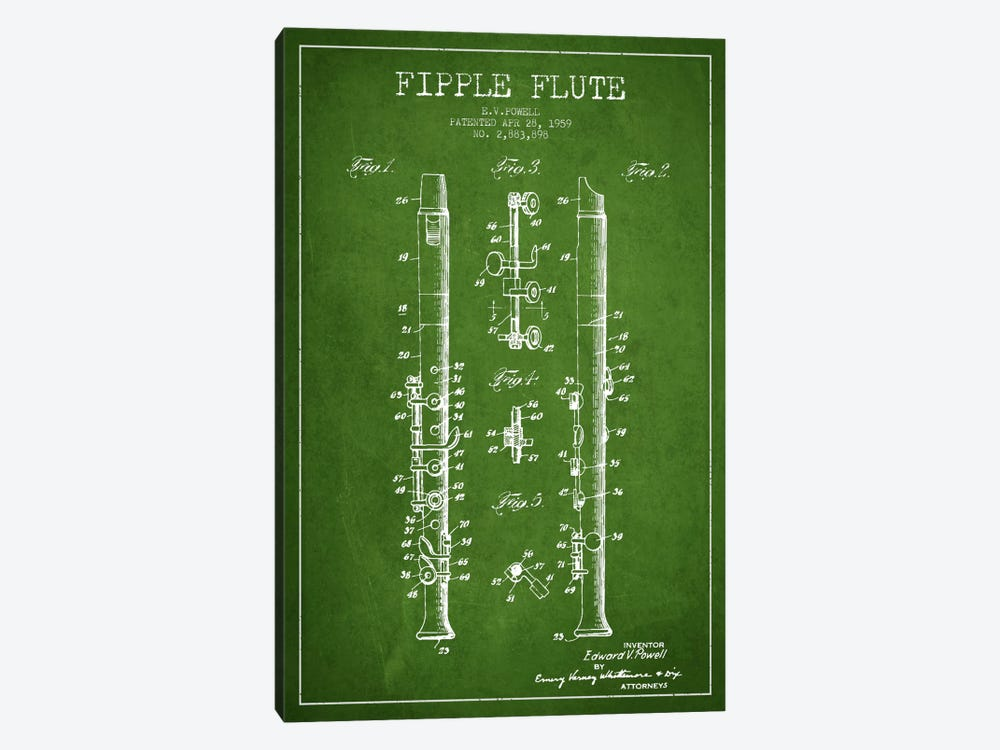 Fipple Flute Green Patent Blueprint by Aged Pixel 1-piece Canvas Artwork