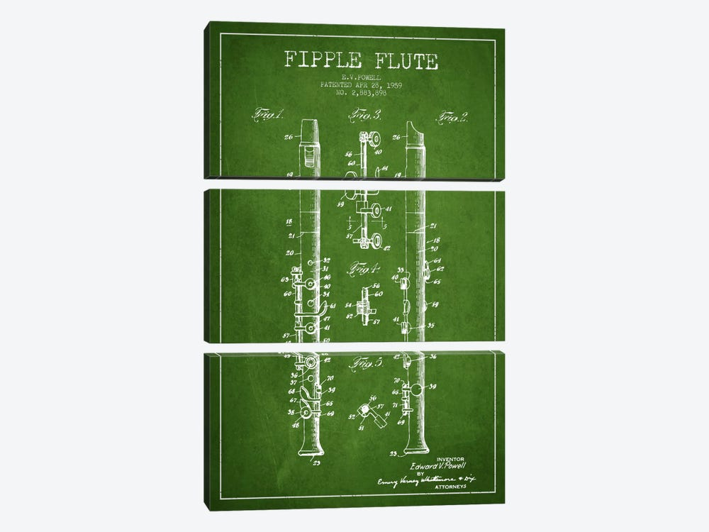Fipple Flute Green Patent Blueprint by Aged Pixel 3-piece Canvas Wall Art