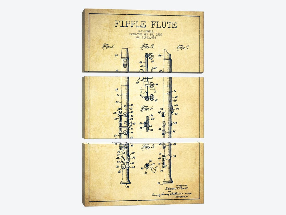 Fipple Flute Vintage Patent Blueprint by Aged Pixel 3-piece Canvas Art Print