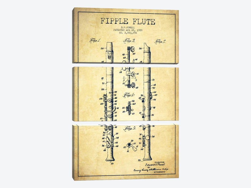 Fipple Flute Vintage Patent Blueprint by Aged Pixel 3-piece Canvas Art Print
