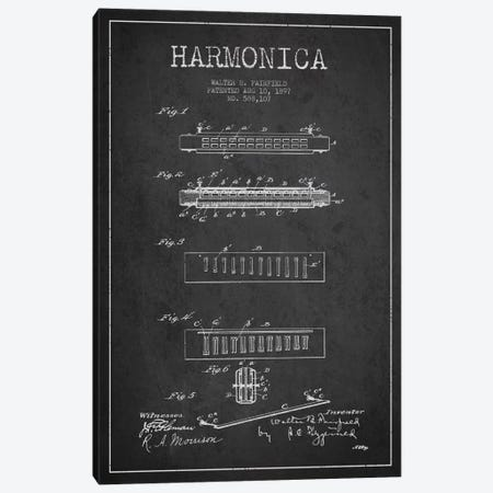 Harmonica Charcoal Patent Blueprint Canvas Print #ADP1019} by Aged Pixel Art Print