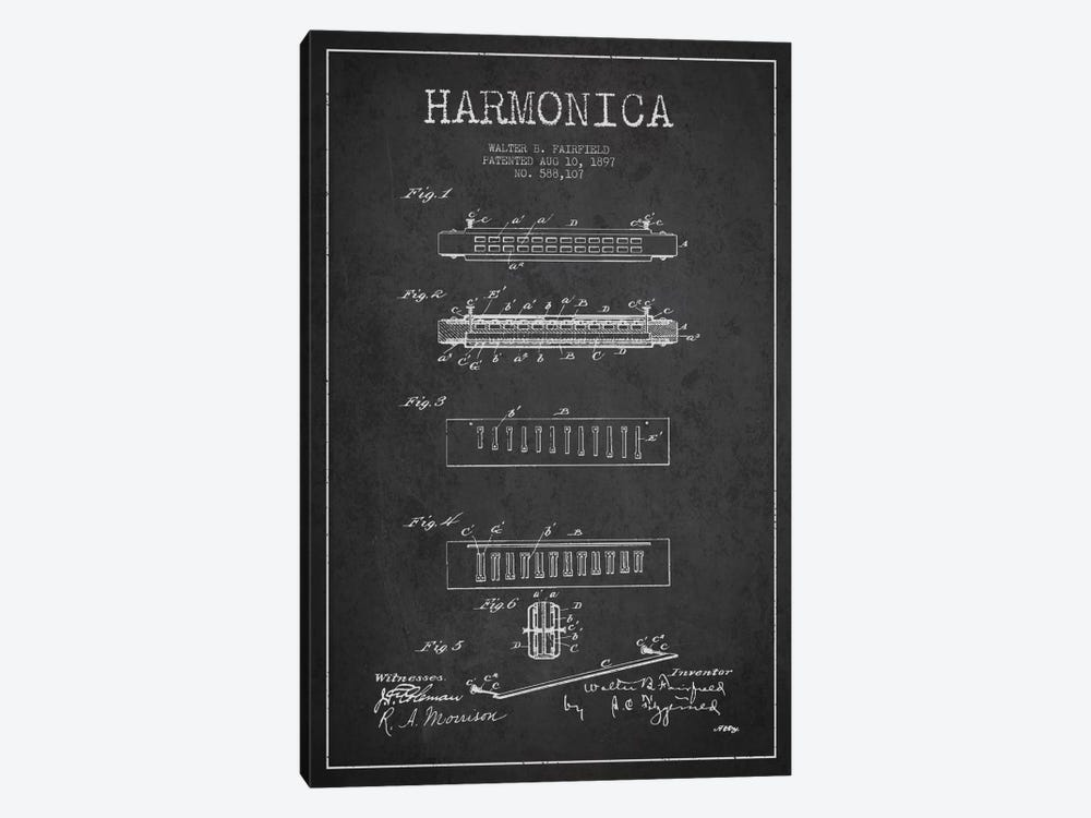 Harmonica Charcoal Patent Blueprint by Aged Pixel 1-piece Canvas Artwork