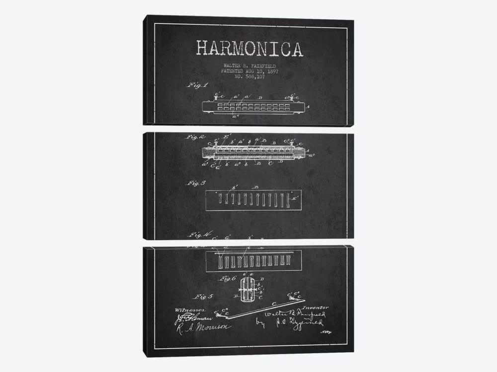 Harmonica Charcoal Patent Blueprint by Aged Pixel 3-piece Canvas Artwork