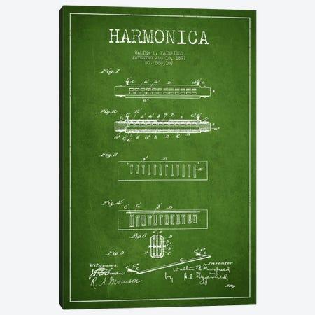Harmonica Green Patent Blueprint Canvas Print #ADP1020} by Aged Pixel Canvas Art