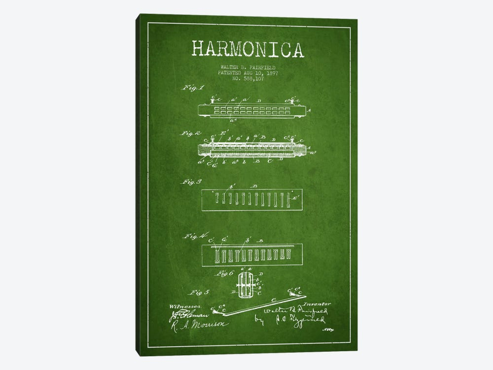 Harmonica Green Patent Blueprint by Aged Pixel 1-piece Canvas Art