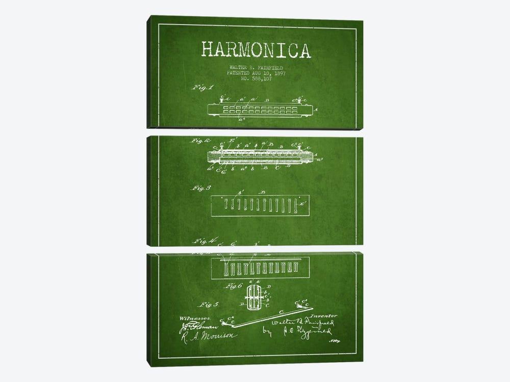 Harmonica Green Patent Blueprint by Aged Pixel 3-piece Canvas Artwork
