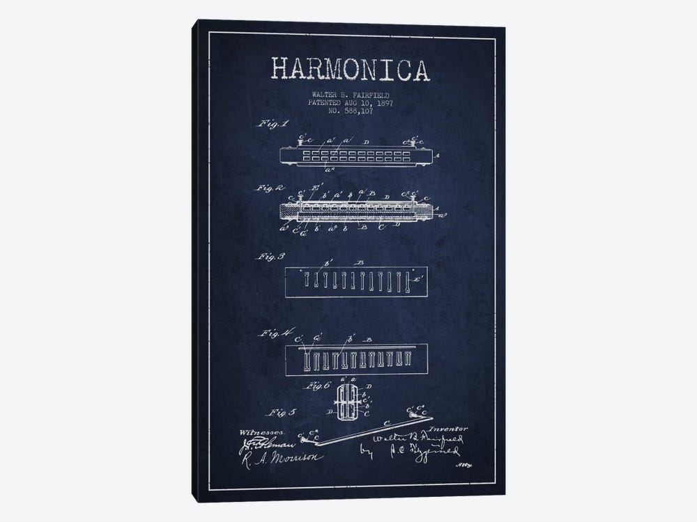 Harmonica Navy Blue Patent Blueprint by Aged Pixel 1-piece Canvas Print