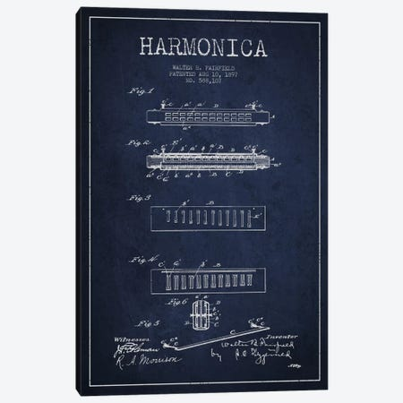 Harmonica Navy Blue Patent Blueprint Canvas Print #ADP1021} by Aged Pixel Canvas Wall Art