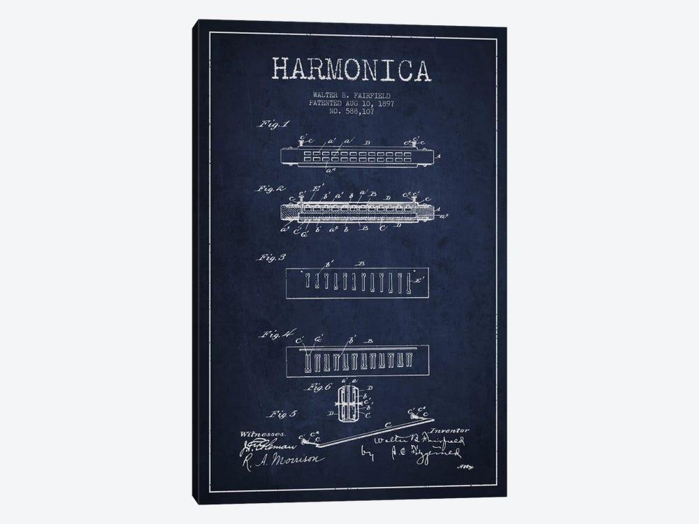 Harmonica Navy Blue Patent Blueprint by Aged Pixel 1-piece Canvas Print